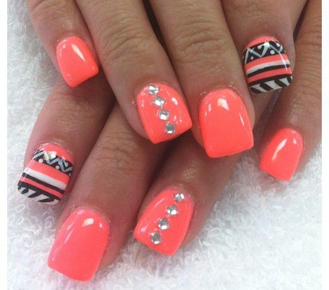 Nails, Nail Art, Coral Nails