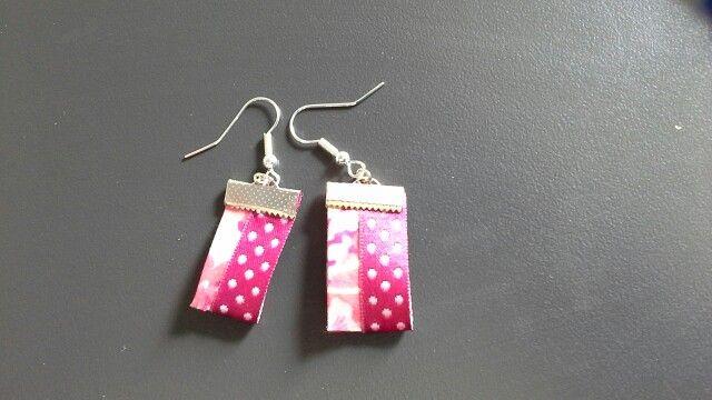 Boucles d'oreilles biais liberty et ruban rose a pois blanc