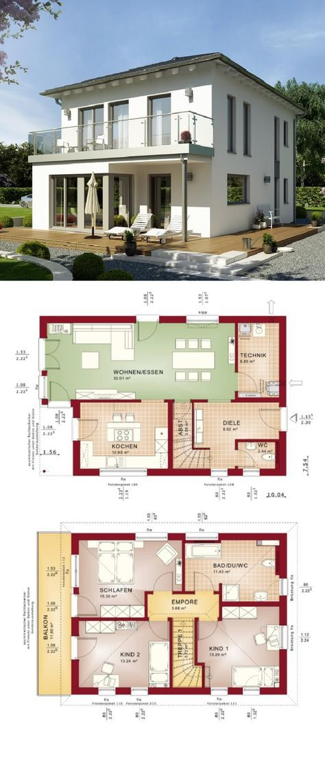 Stadtvilla modern mit Walmdach Loggia und Balkon - Haus Grundriss ...