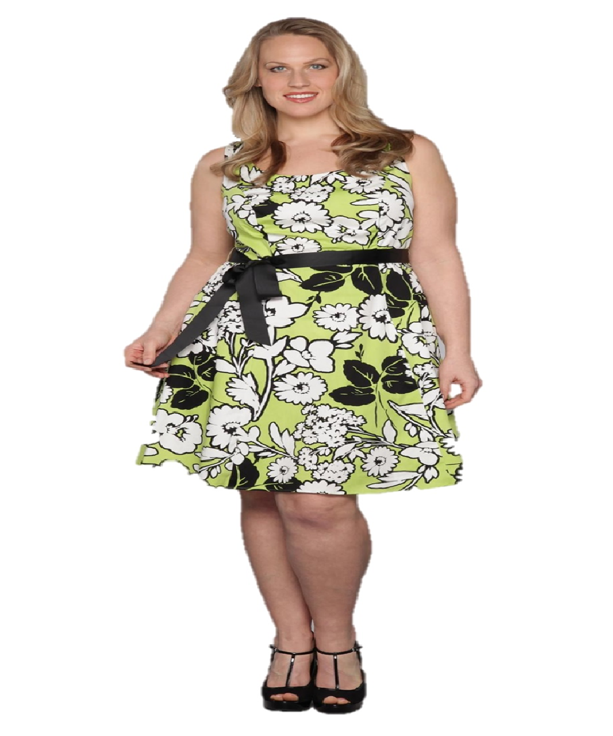 Women\'s Plus Size Floral Lime Green and White Floral A-Line ...