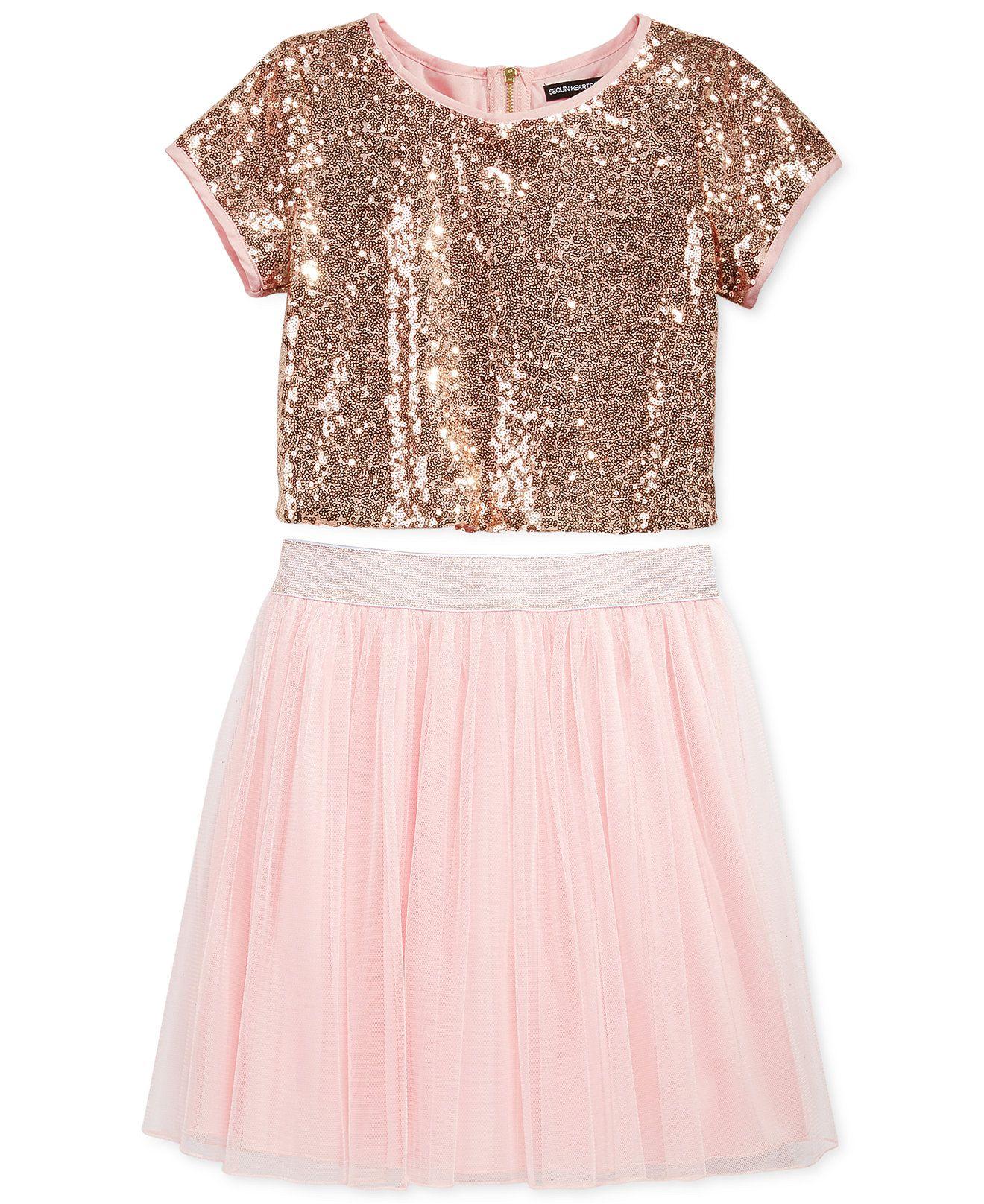 Sequin Hearts Girls 2 Piece Sequin Top Tulle Skirt Set Dresses Kids Baby Macy S Tulle Skirt Girls Sequin Top Kids Dress [ 1616 x 1320 Pixel ]
