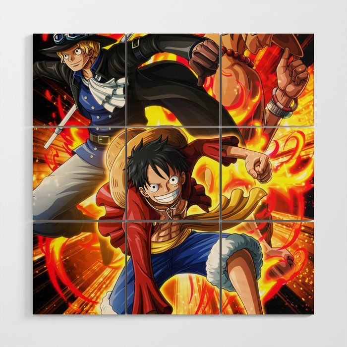 Lufy,sabo,ace - One Piece Wooden Wall Art by One_piece_treasures - 3' x 3'