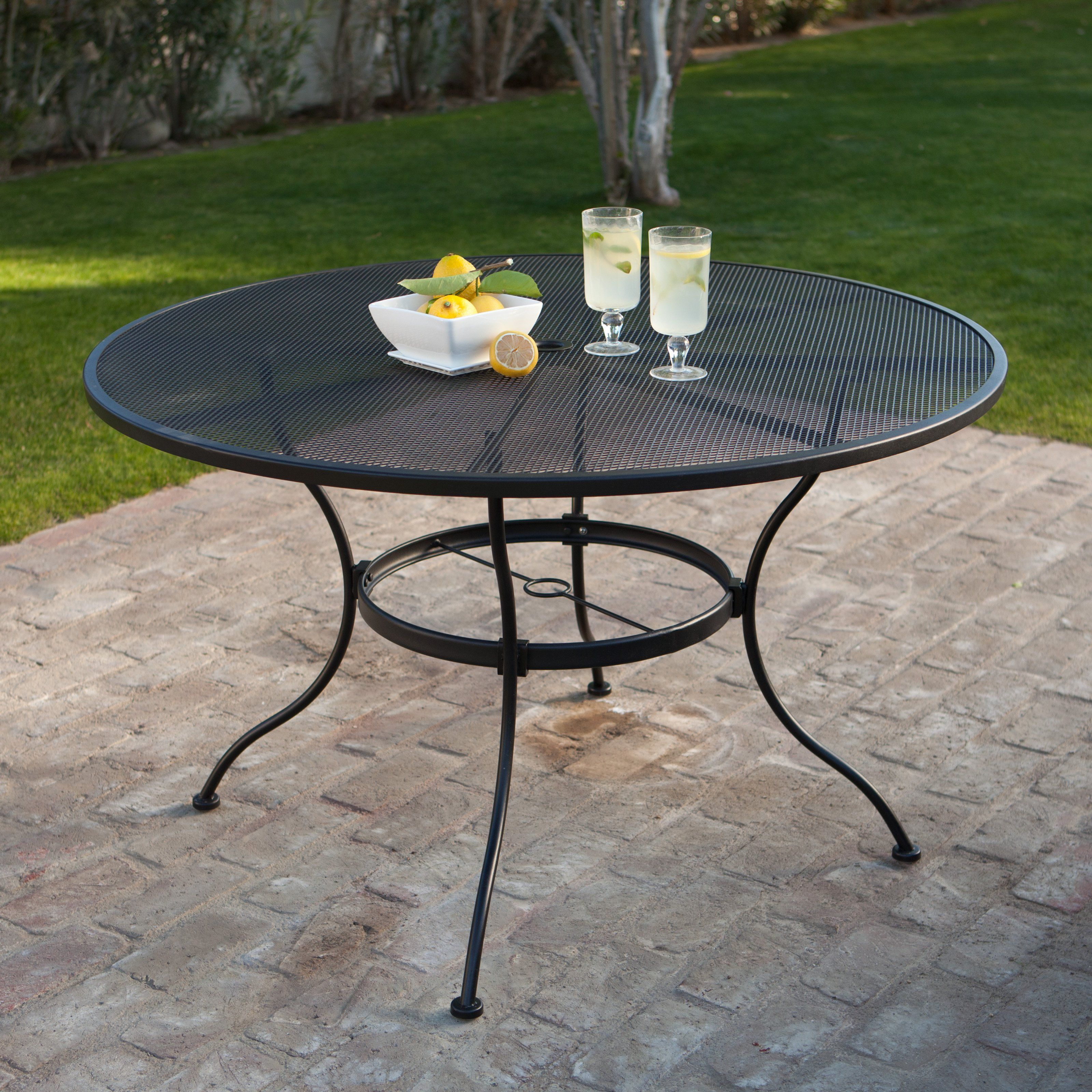 Belham Living Stanton 48 in. Round Wrought Iron Patio Dining Table ...