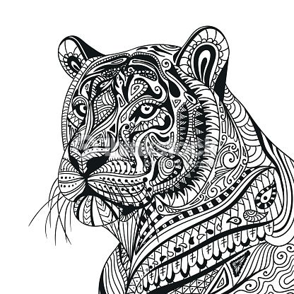 Arte vetorial vector ornamental tiger tigers for Lion mandala coloring pages