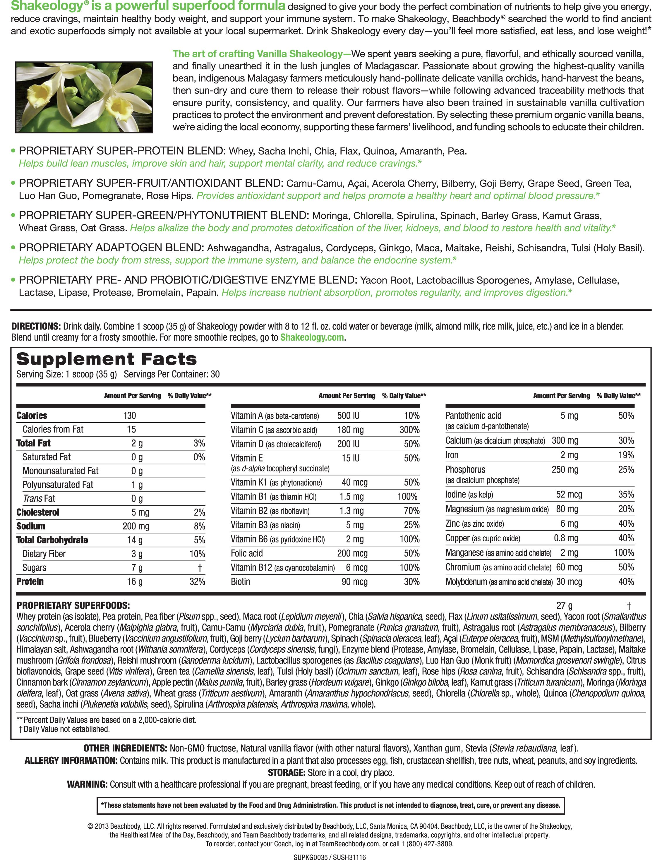 vanilla shakeology supplement facts   shakeology recipes galore