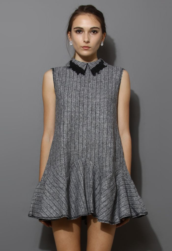 Grey Peak Collar Stripe Frill Hem Dress