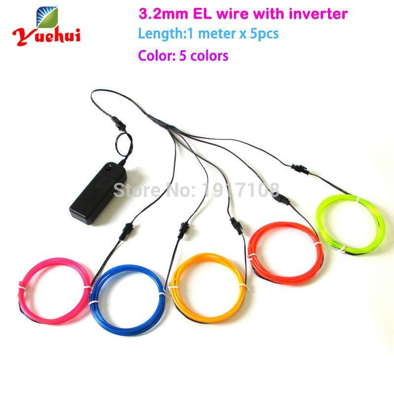 2017 3.2mm 1M multicolor 5pieces el wire electroluminescent wire ...