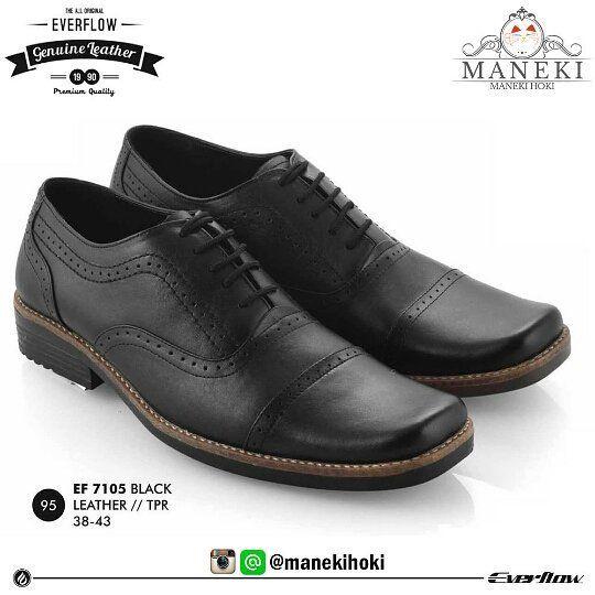 Sepatu Pantofel Pria Ef 7105a Original Everflow Warna Black Bahan