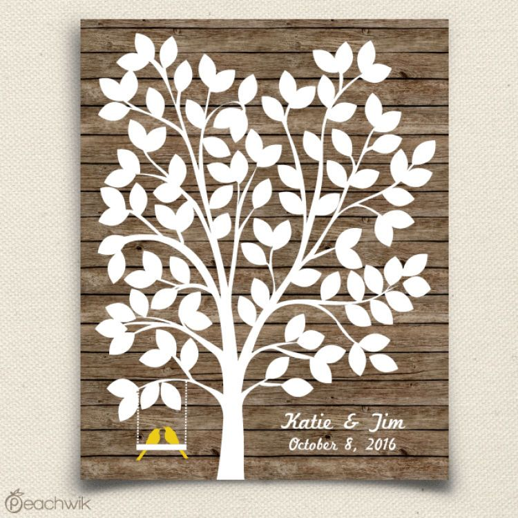 Rustic Wooden Wedding Tree Guest Book Alternative with love birds- Wedding Wish Tree - By Peachwik
