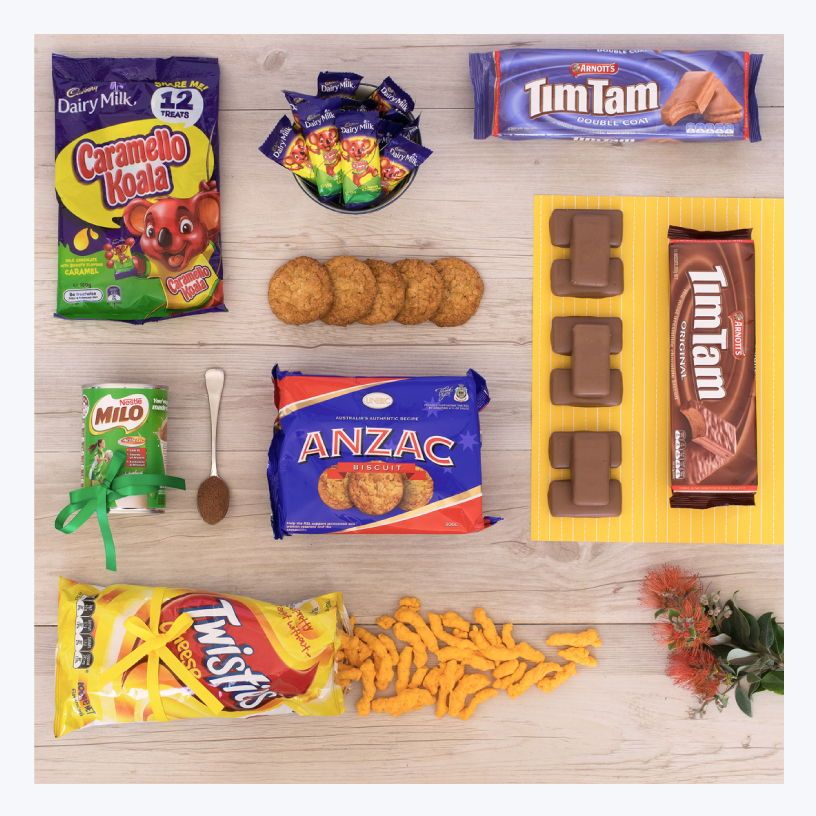 Australian Gifts For Overseas How About A Homesick Aussie Gift Pack Who Doesn T Love Timtams Milo Anzacbi Aussie Gifts Australian Gifts Aussie Christmas