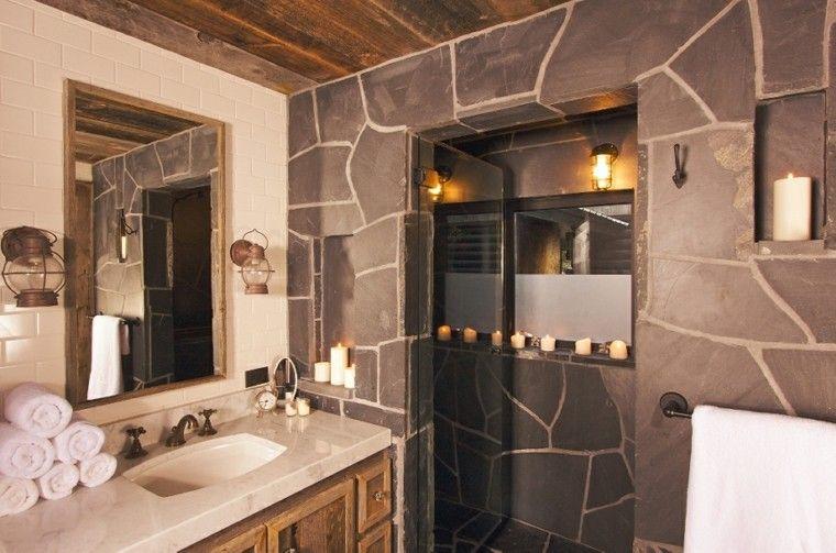 cuartos de baño rusticos paredes piedra elegido San Pinterest