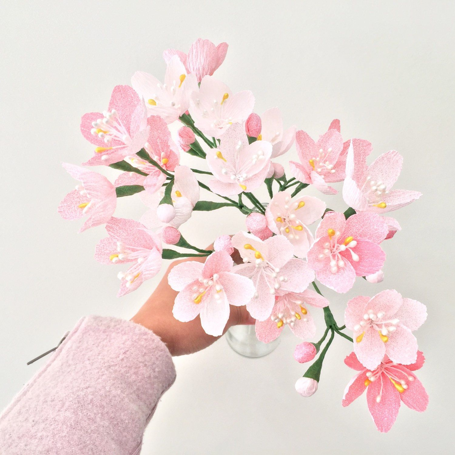 A Bunch Of Cherry Blossoms Or Tulips For Spring All Year Round Paper Flower Kit Handmade Flowers Paper Paper Flowers Diy