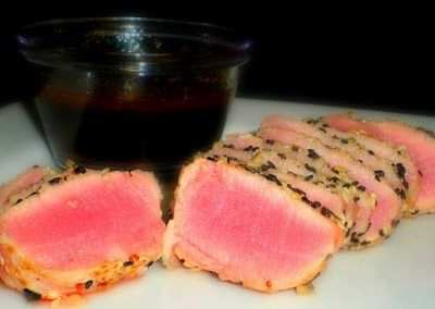 Tonights dinner: Sesame Crusted Ahi Tuna Steaks with Soy Ginger Vinaigrette, from Becoming Domestic