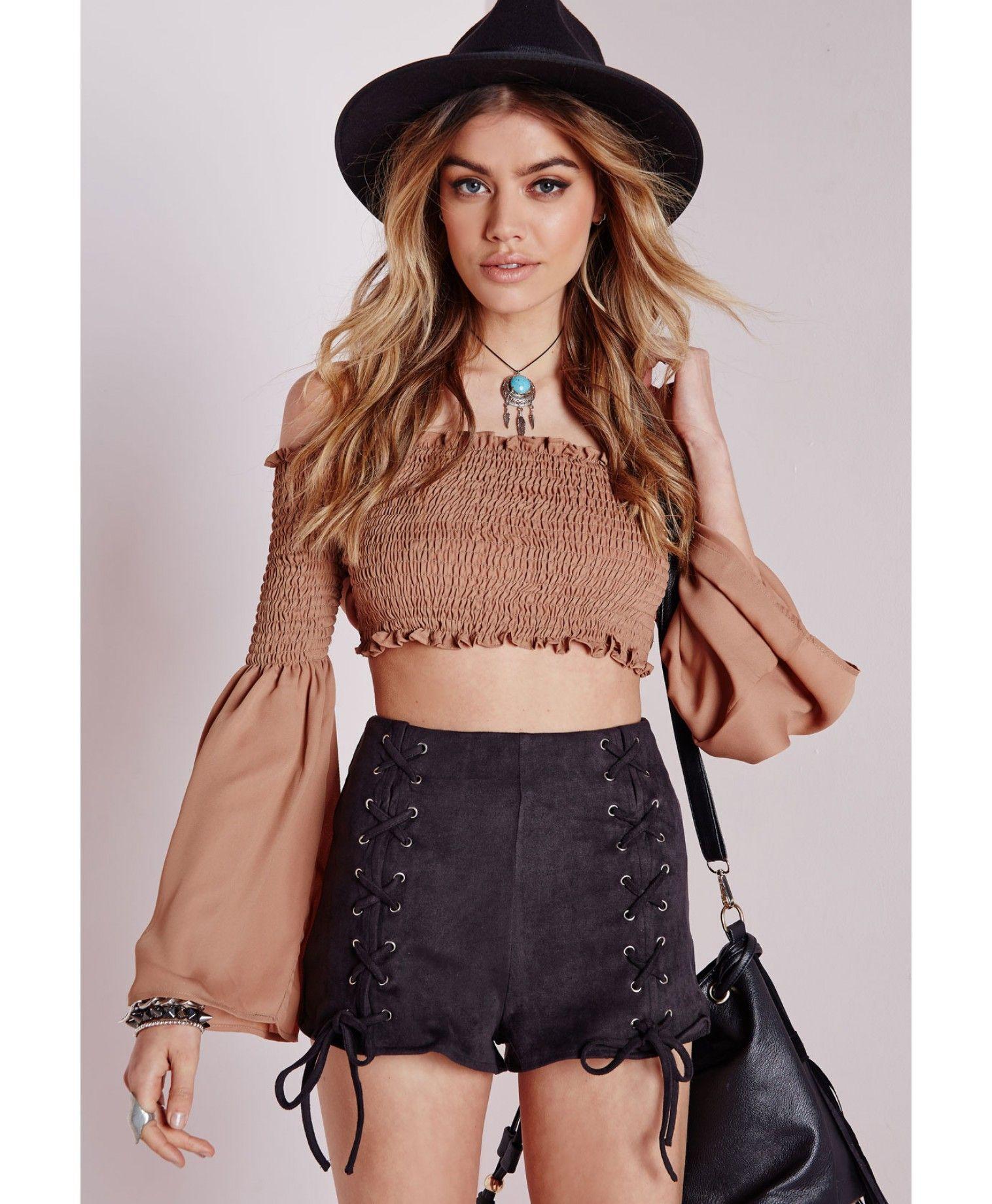 eda9b9c7e8 Lace Up Front Faux Suede Shorts Black - Faux - Suede - Shorts - Missguided