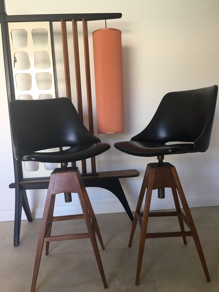 Fabulous 2 Vintage Mid Century Teak Swivel Bar Stools Retro Parker Th Unemploymentrelief Wooden Chair Designs For Living Room Unemploymentrelieforg