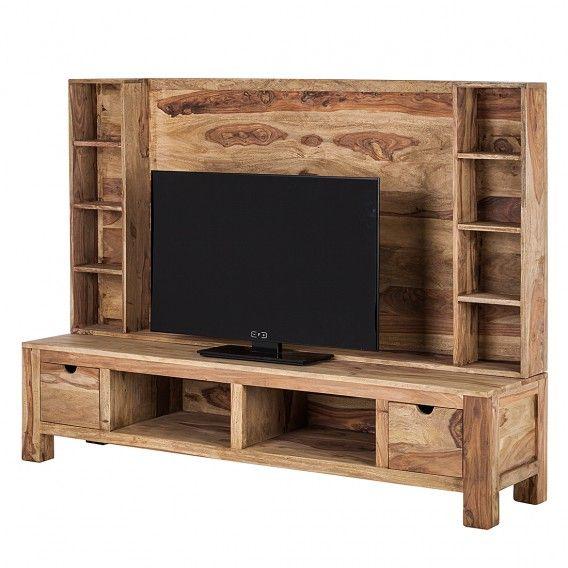 TV-Wand Yoga Tv wand yoga massivholz sheesham natur, Wand Yoga - natur wand im wohnzimmer