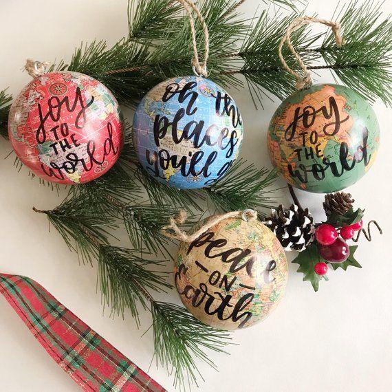 Christmas Ornament Globe Ornament World Ornament Joy To The World Ornament Custom Christmas Orna Map Ornaments Globe Ornament Custom Christmas Ornaments