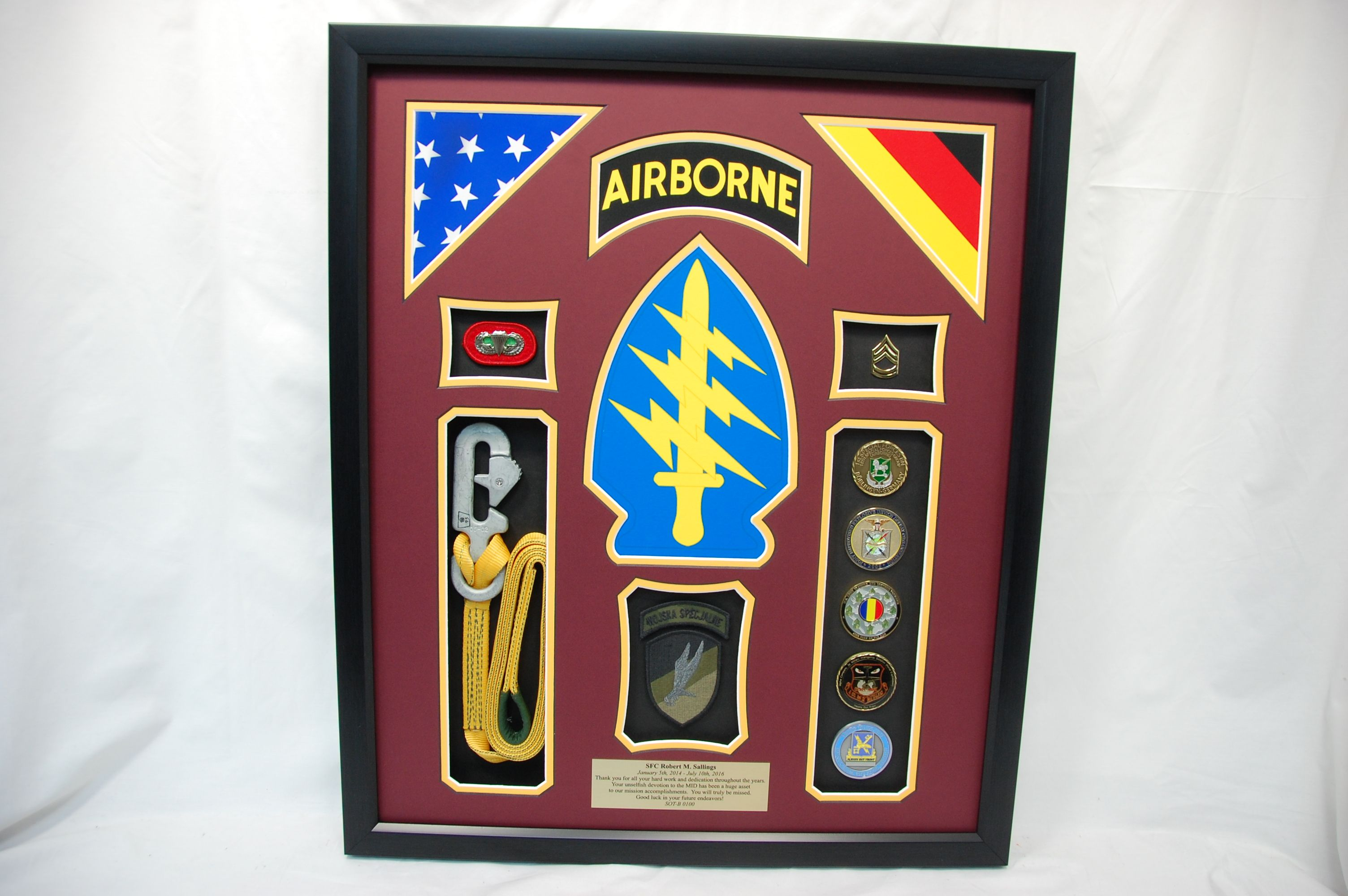Special Forces Shadow Box w/ Static Line, Challenge Coins, Patches ...