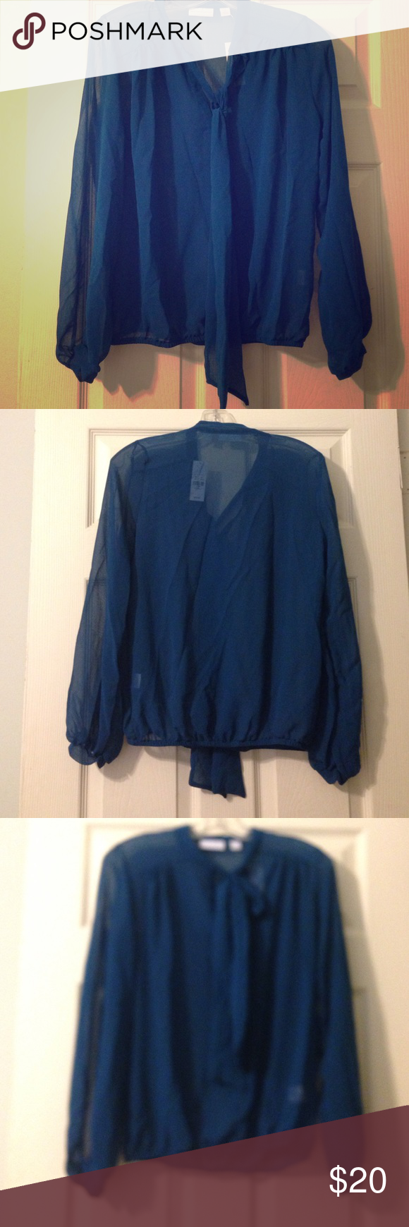 NWT Sheer Blouse Sheer blouse from New York and Company. Perfect for work or semi-formal events. Dress it down with flats and it's perfect for daytime. Size XS, but is meant to be loose. Can fit up to a Medium comfortably ☀️✌️ New York & Company Tops Blouses