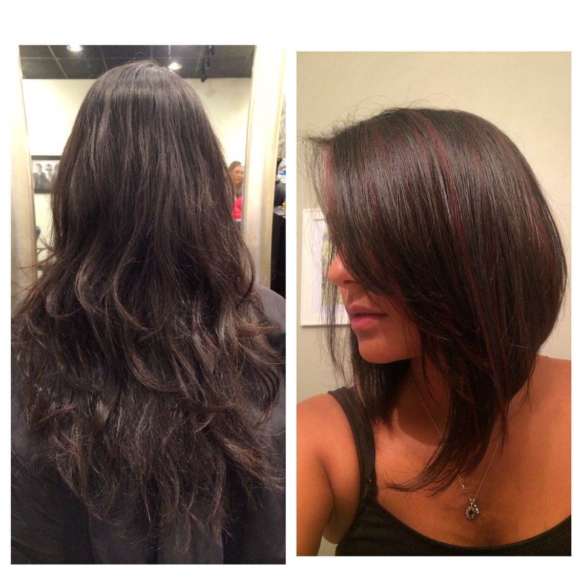 Before Long Dark Brunette After Asymmetrical A Line Bob With Peek A