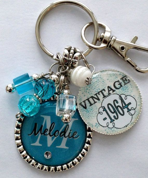 50th Birthday Gift Keychain Vintage Personalized Name