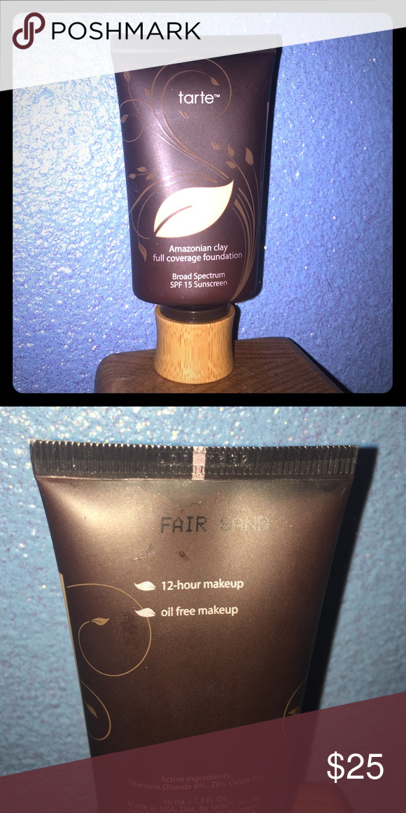 Tarte Amazonian clay foundation- fair sand Fair sand color- 1/4 of it used---plenty left!!  Full coverage ☀️ tarte Makeup Foundation