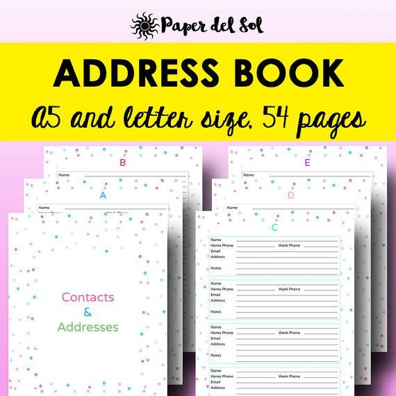 Keep your contact list organized with this printable address book - contact list