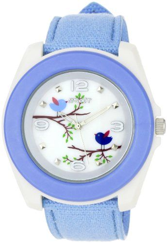 12a36dddc7e9 Sprout Women s ST2018MPLB Eco-Friendly Light Blue Organic Cotton Strap Watch