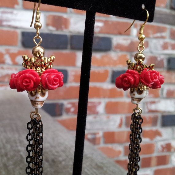 Diva de los Muertos Skull Rose Chain Earrings by FantasticReVision, $38.00  -Jeff made these last night and I think they might be his best piece ever.