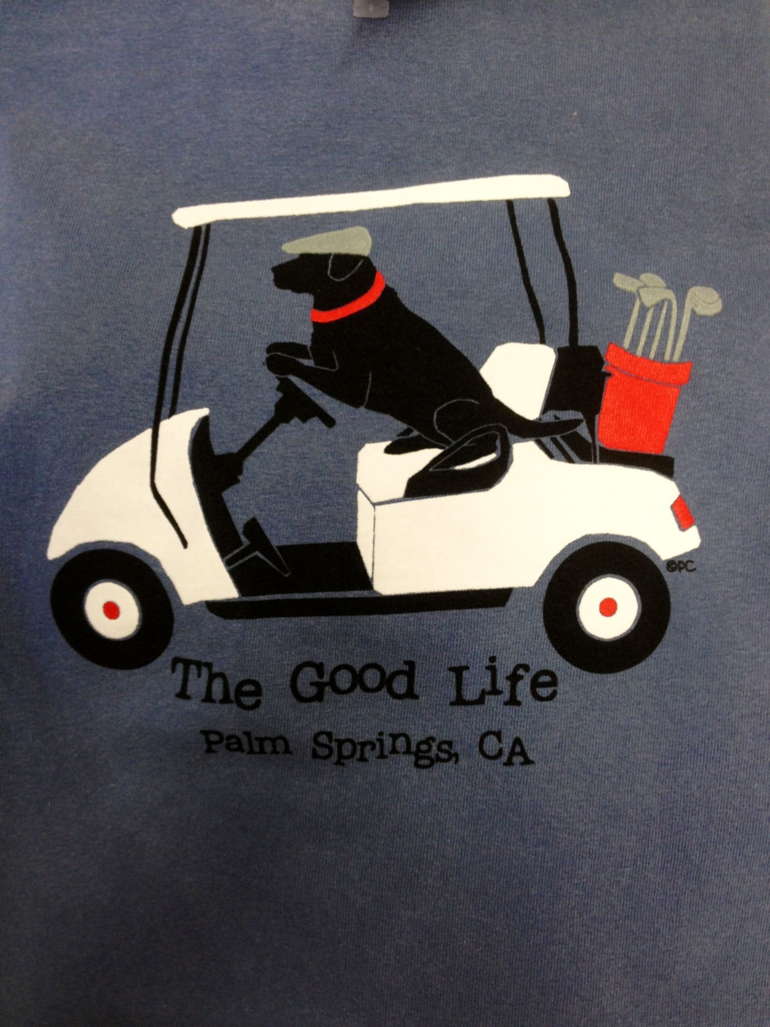 The Good Life T Shirt Features A Black Lab Driving Golf