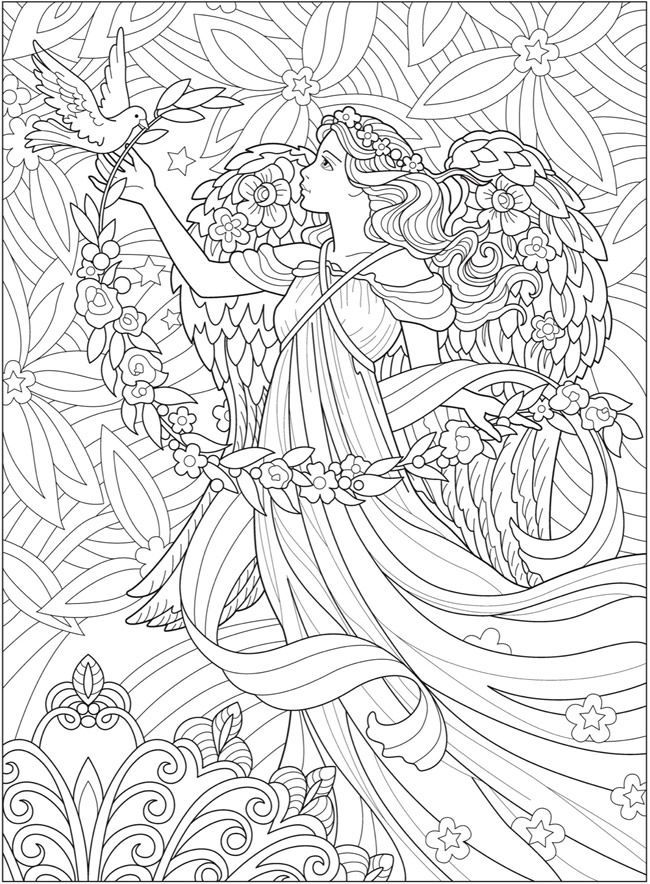 Creative Haven Beautiful Angels Coloring Book Angel Coloring Pages Fairy Coloring Pages Coloring Books