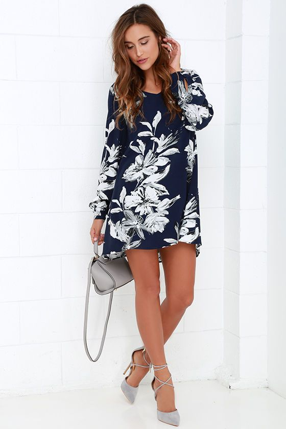 f9e9eb726c8c Sunday Mood Navy Blue Floral Print Shift Dress