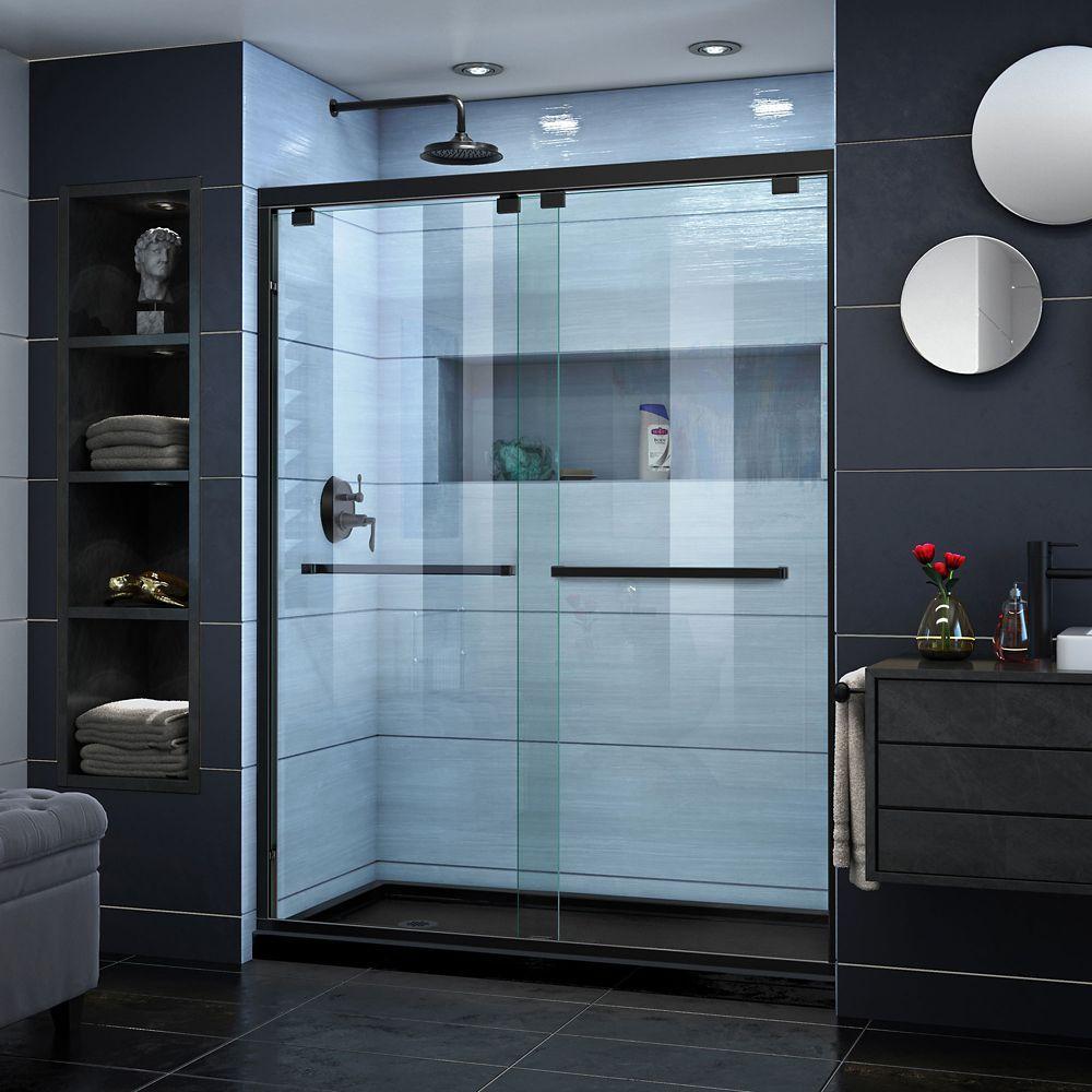 Encore 36 Inch D X 60 Inch W X 78 3 4 Inch H Shower Door In Satin Black And Left Drain Black Base Frameless Sliding Shower Doors Shower Doors Bathroom Shower Doors
