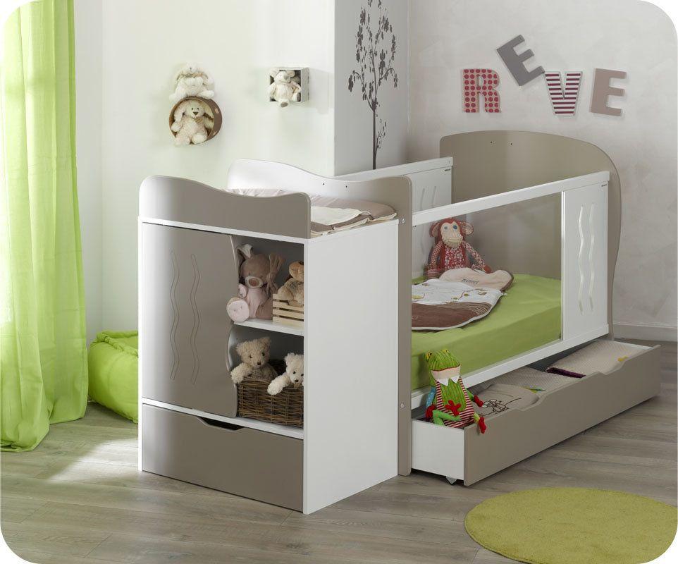 Lit bébé évolutif en Plexi Jooly avec Plan à Langer Lin Blanc lit