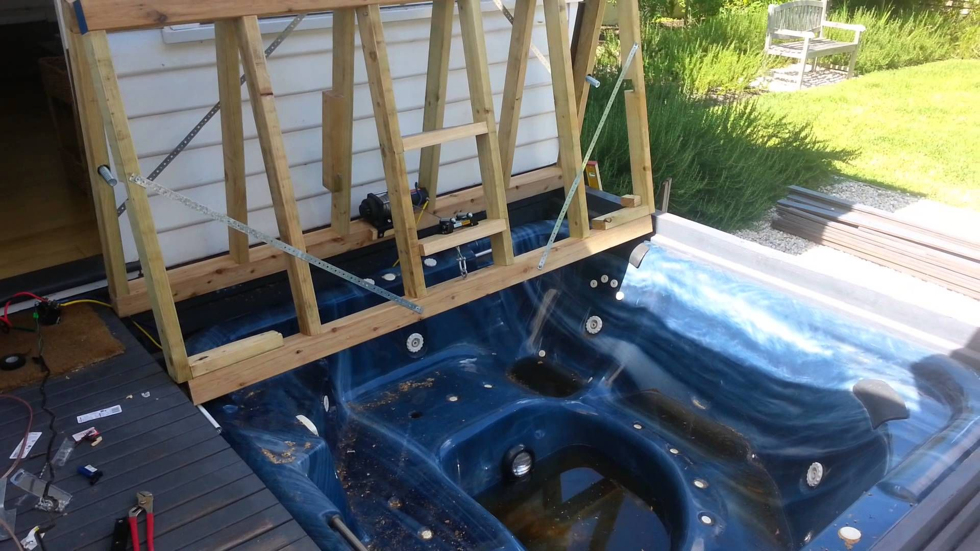 Bifold Deck Spa Cover 12v Winch Building A Deck Outdoor Living Deck Pool House Designs