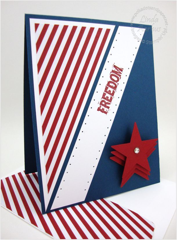 handmade patriotic card: Freedom ... red, white and blue, diagonal lines--love the stacked die cut stars #diy #craft #redwhiteandblue
