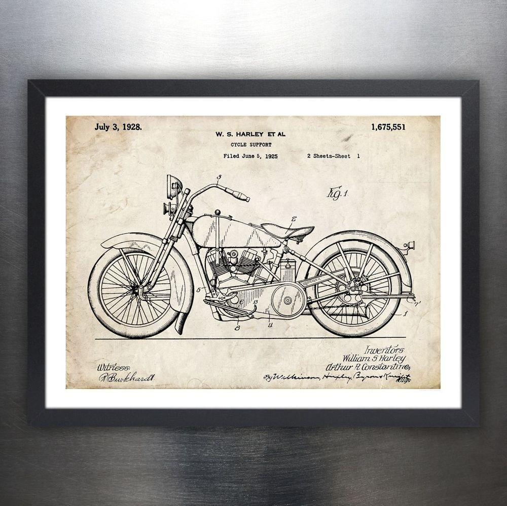 1928 Harley Davidson Motorcycle 2 Patent Print Art Drawing Poster 18 X 24