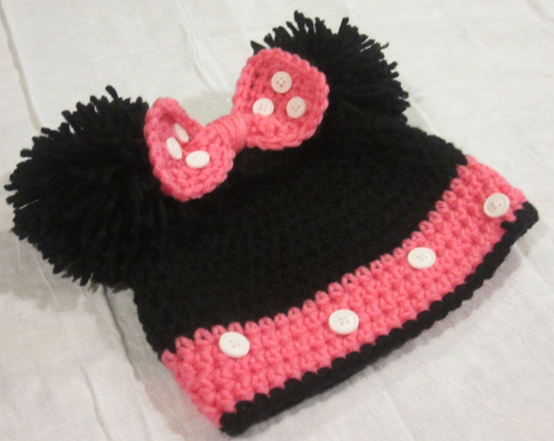 Crochet Minnie Mouse Hat. | miss gorros | Pinterest | Minnie mouse ...