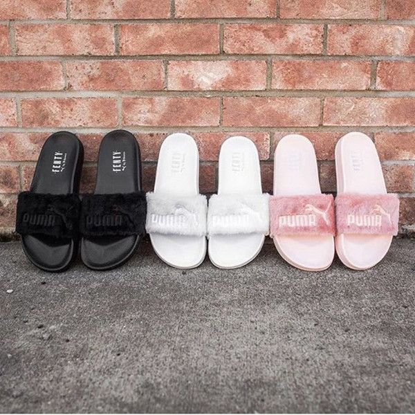 b71cb40ce398 2017 Discount Price Puma New Style Leadcat Fenty Rihanna Shoes Men Women  Slippers Indoor Sandals Girls Scuffs Fur Slides With Original Box