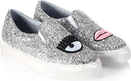 Chiara Ferragni Women's Shoes in Silver Color. Glitter fabric sneakers with  embroidered design. Fabric