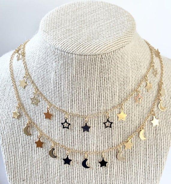 Moon star choker, moon star necklace, star necklac