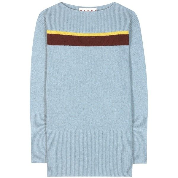 Marni Wool Sweater ($550) ❤ liked on Polyvore featuring tops, sweaters, blue, wool sweaters, marni sweater, marni top, wool tops and woolen sweater