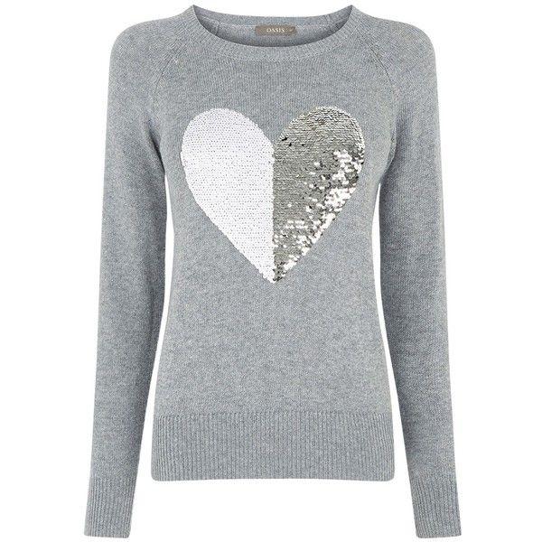 27395422d83 Oasis Sequin Heart Jumper