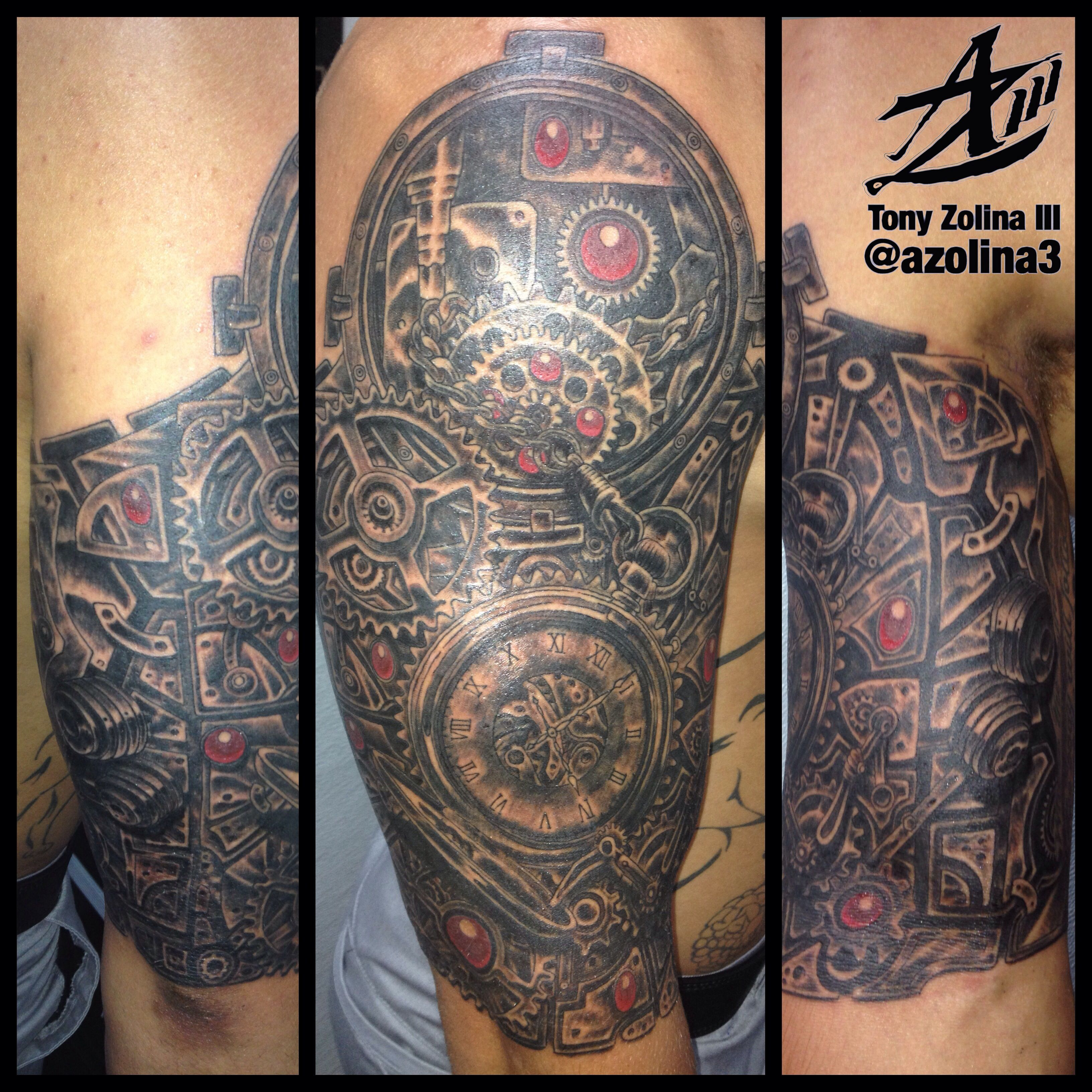 Tattoo gear tattoo sleeve mechanic tattoo mechanical tattoo gears - Steampunk Pocket Watch And Gears Sleeve Done In One Hour Session Find This Pin And More On Aquanaut Tattoo