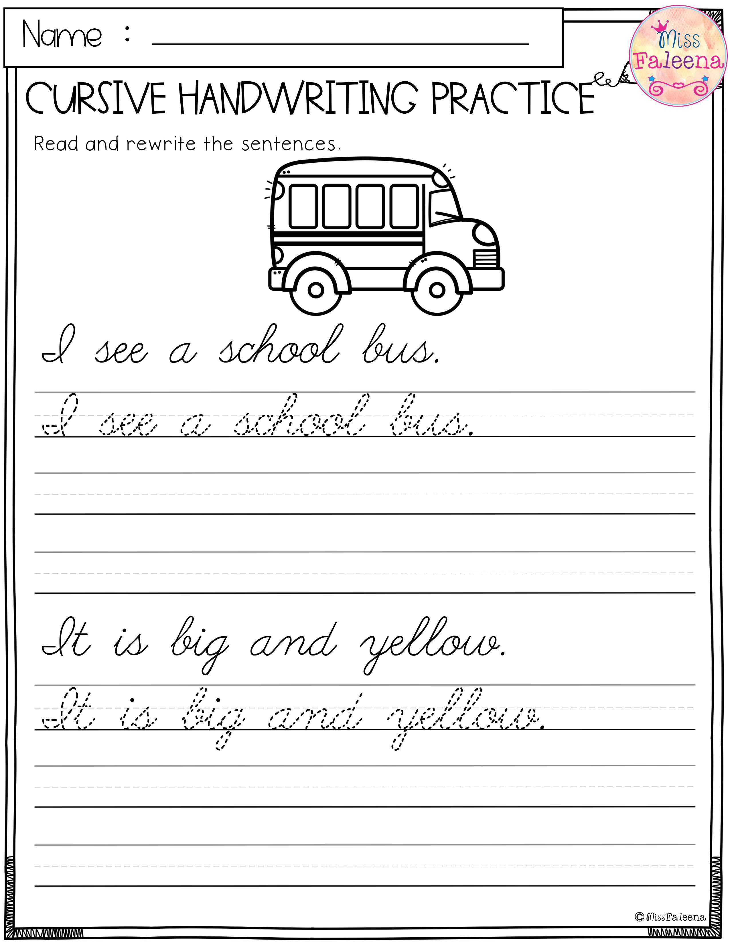 This Product Has 25 Pages Of Handwriting Worksheets This Product Will Teach Children Reading And Writing Simple Sentences Children Will Read Trace And Rewrit [ 3300 x 2550 Pixel ]