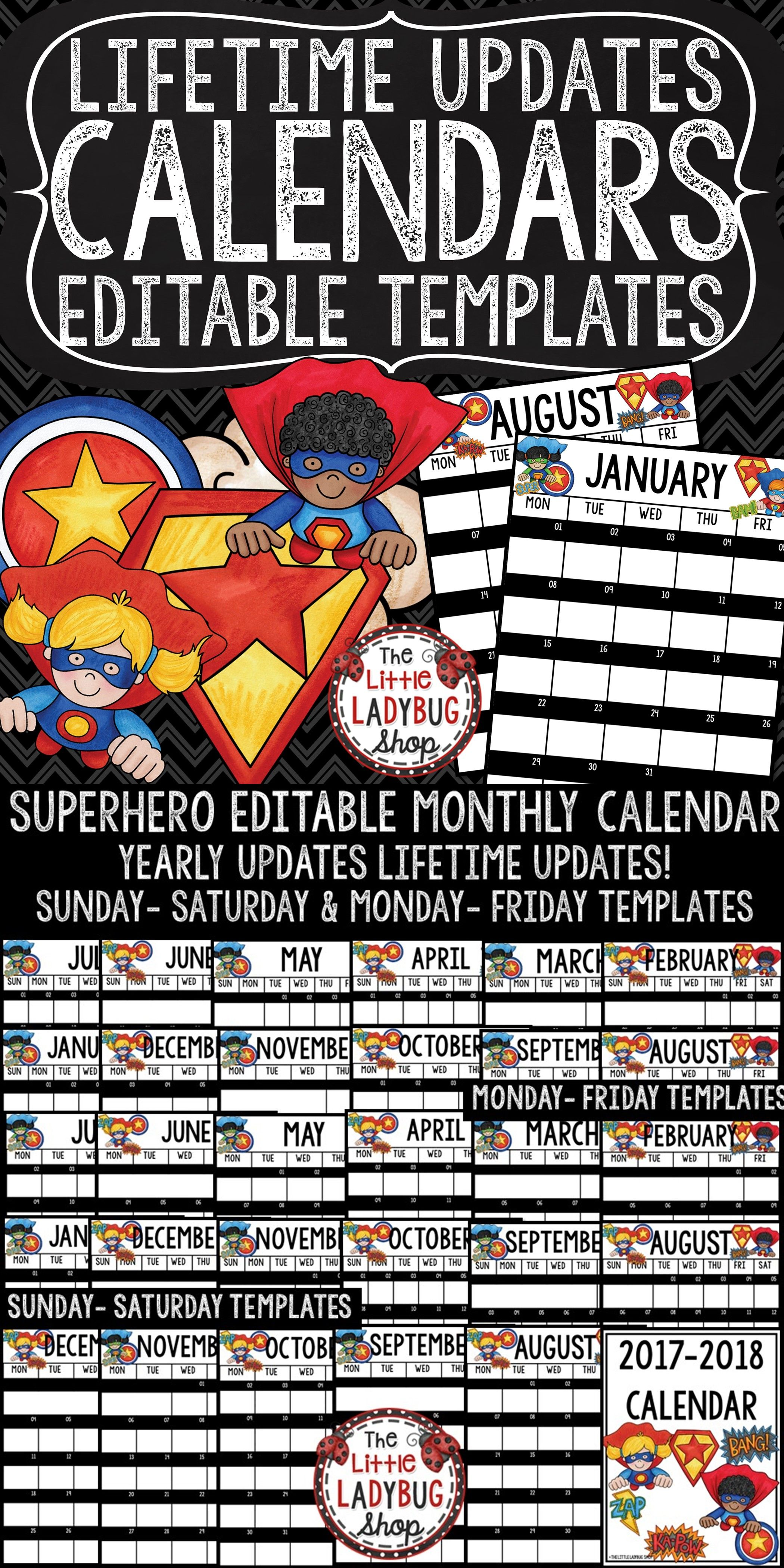 Superhero Classroom Theme Editable Calendar 2018-2019 Templates ...