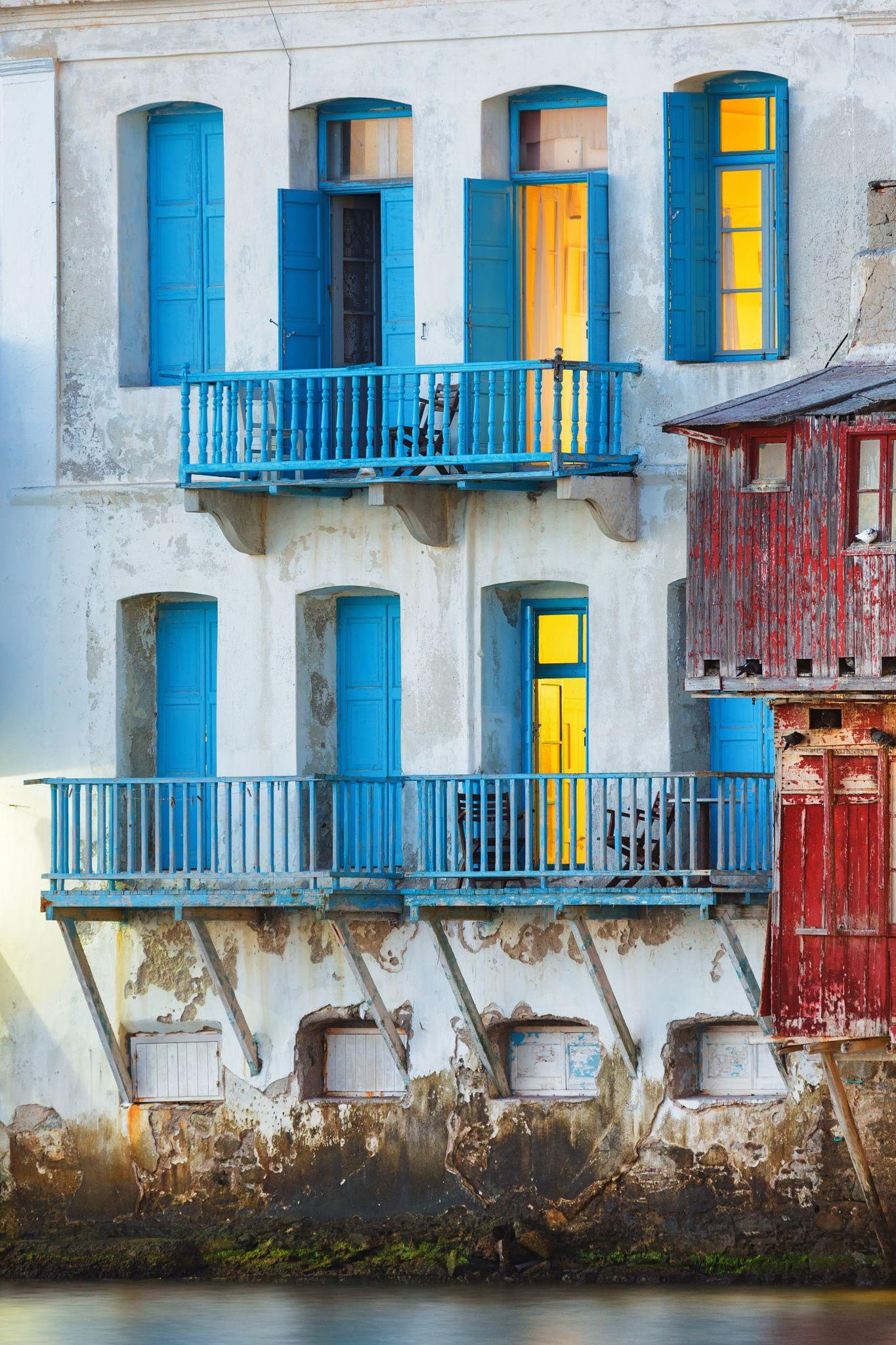 Windows in Little Venice - Mykonos, Cyclades_ Greece