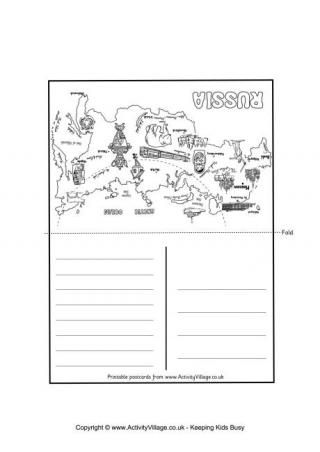 Russia Map Coloring Postcard: Winter Olympics Crafts for