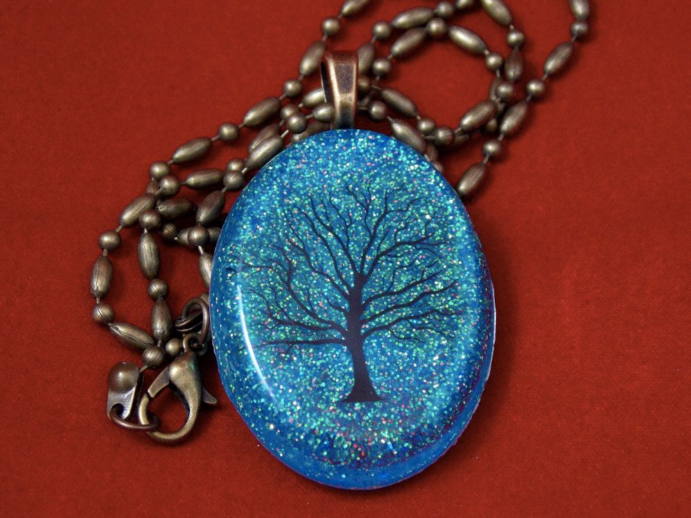 Tree Design With Colorful Blue Sparkle Pendant Necklace 24 Vintage Gunmetal Dot And Dash Chain Sky Glitter Behind Tiny Black Hearts