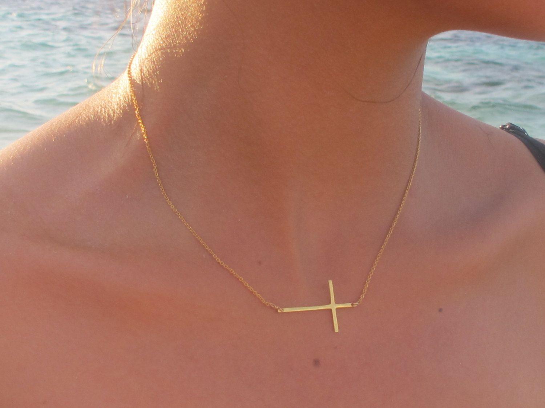 Kelly Ripa Long Skinny Gold Sideways Cross Necklace by lunaCielo